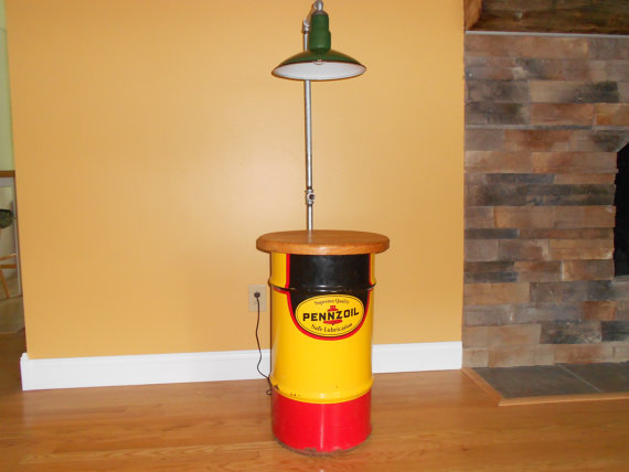 Handmade Upcycled Vintage Pennzoil Drum And Porcelain Gas Station Light Man  Cave End Table/Floor