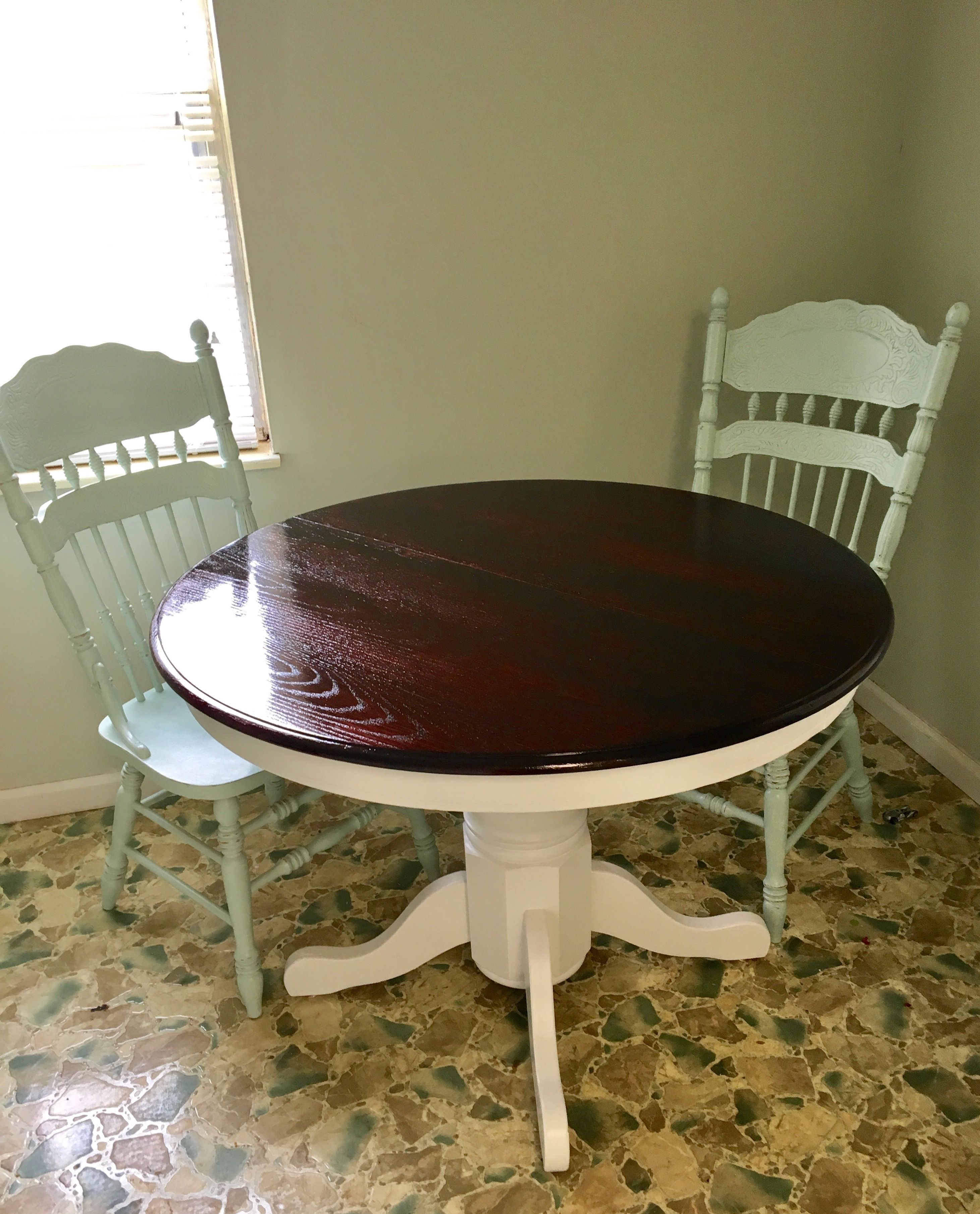 Round Oak Table And Chairs Chair Covers Knoxville Tn Before After Makeover Redo Upcycled Dining Stained Top With White Painted Base Pedestal