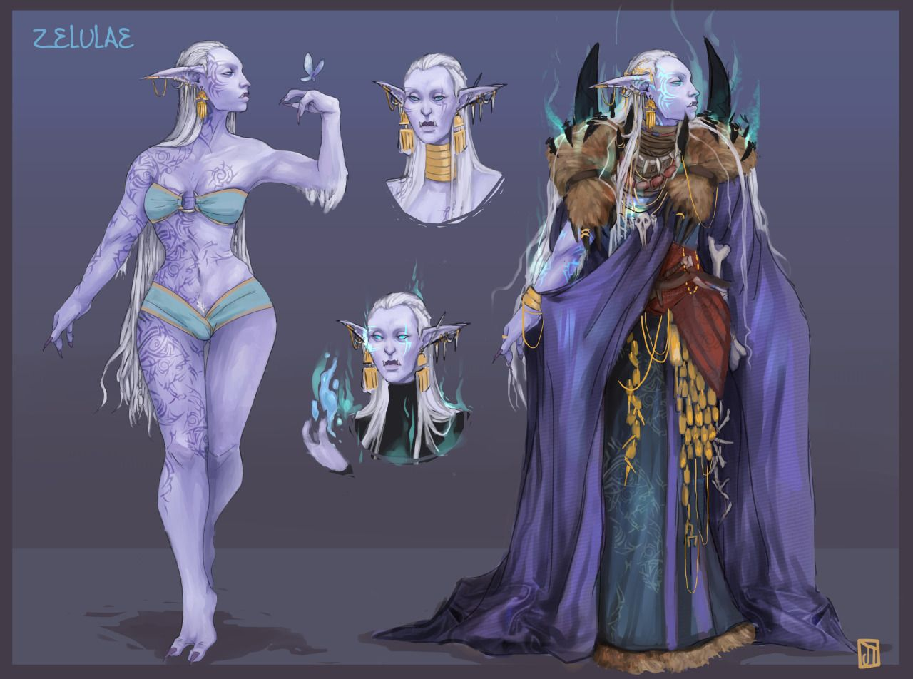 Artstation portrait stuff for green skin dungeon master