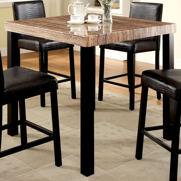 Furniture Of America Dymen Contemporary Faux Marble Top Black - Marble top bar height dining table