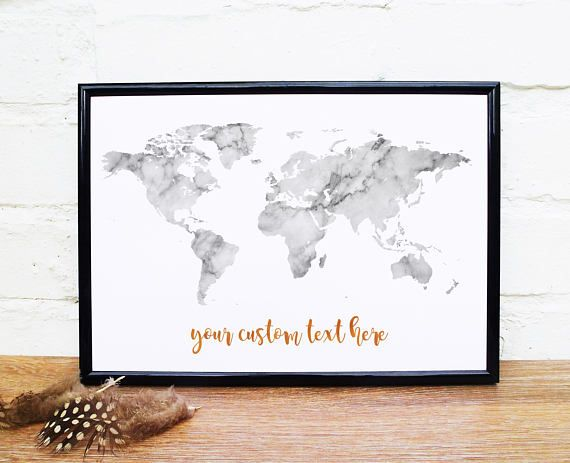 Marble world map wall art custom quote print marble texture marble marble world map wall art custom quote print marble texture marble wall art black and white gumiabroncs Gallery