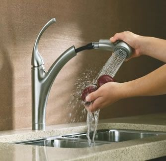 Sleek Sculptural Kitchen Faucets | ... Forte Single Control Pullout Kitchen  Sink Faucet With