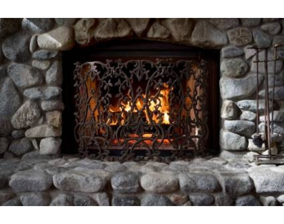 Natural Stone Fireplace (would love to have this with a double opening between dining/living area)
