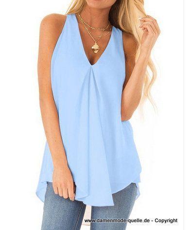 Damen Oberbekleidung   Sommer Chiffon Shirt 2020 in Hellblau   Damenmode Günstig Online Kaufen