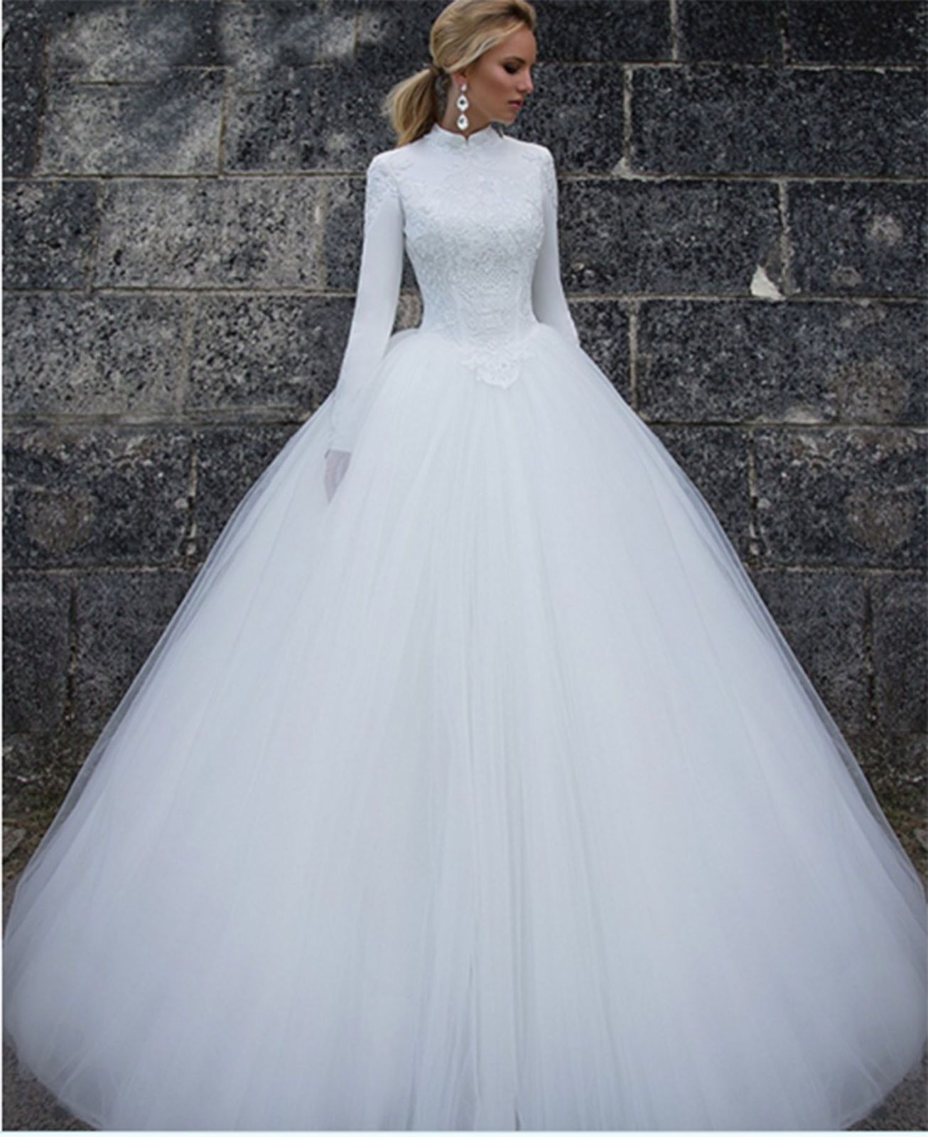 Awesome Amazing White Ivory Long Sleeve Bridal Gowns Muslim Dubai ...