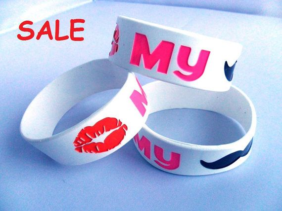 10 pcs.Kiss My  Mustache silicone bracelet by all4Christian