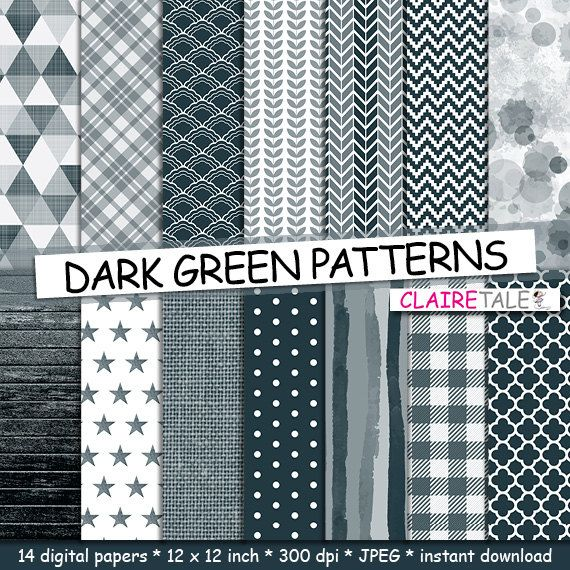 """Green digital paper: """"DARK GREEN PATTERNS"""" with gingham, chevron, watercolour, triangles, leaves, stars, stripes, wood, linen, quatrefoil by clairetale. Explore more products on http://clairetale.etsy.com"""