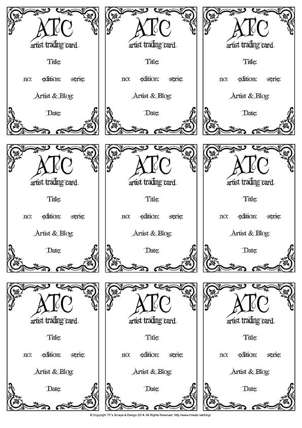 Atc Template At Free Stuffs Http Www Tmweb Net Blog Page Id 1590 Artist Trading Cards Trading Card Template Cards