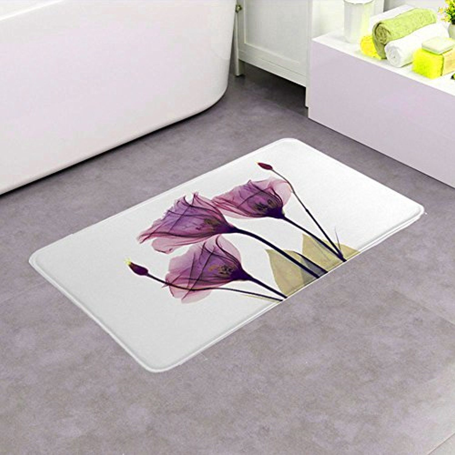 Bathroom Rug Ojia Non Slip Rubber Back Lavender Hope Pattern