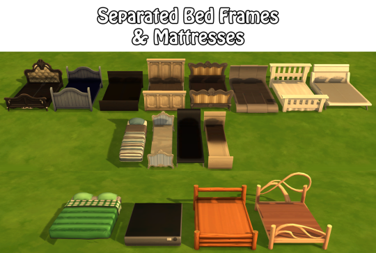 The sims 4 separated bed frames mattresses sims 4 for Camas de uno veinte