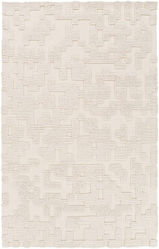 Surya Stn1003 58 Stencil 5 X 8 Rectangle Wool Hand Woven Solid Area Rug White Rugs Area Rugs Modern Area Rugs Solid Area Rugs Rugs