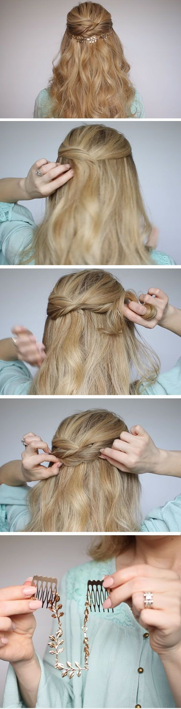 Twisted halfup halfdown quick diy prom hairstyles for medium