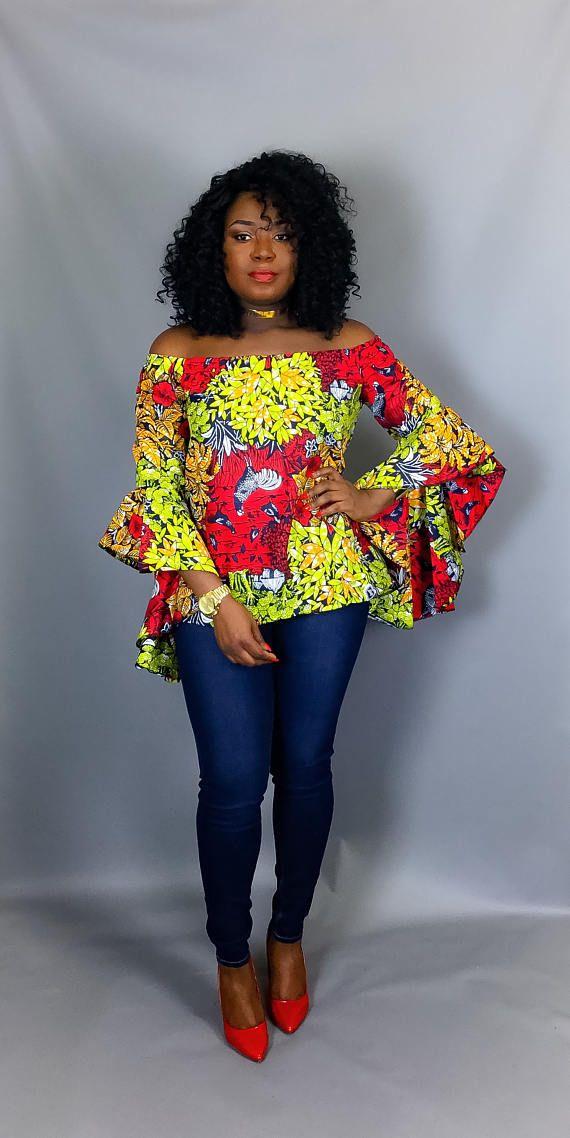 Imprimé africain hors épaule vêtements africain tissu   Affiche africaine, Mode africaine, Robe ...