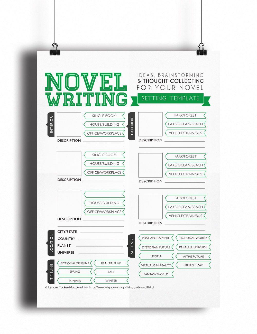 novel writing templates v2 0 by asmallbirdorganizes on etsy