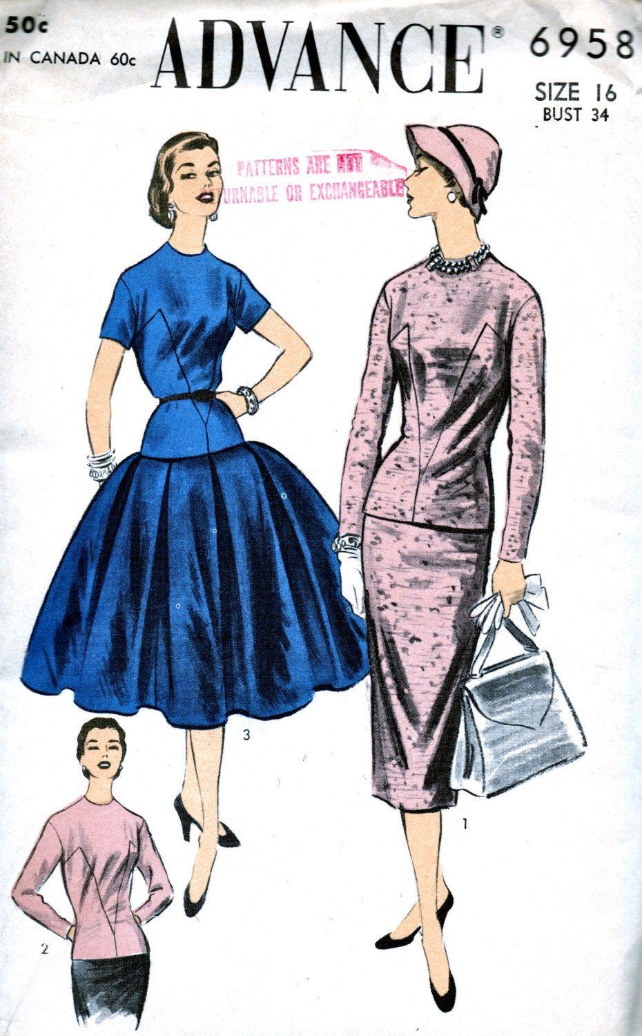 advance modello 1950 6958 - due eleganti pezzo vestito con due gonne * fabbrica piegato * dimensione 16 busto 34 di anne8865 su Etsy https://www.etsy.com/it/listing/215726168/advance-modello-1950-6958-due-eleganti