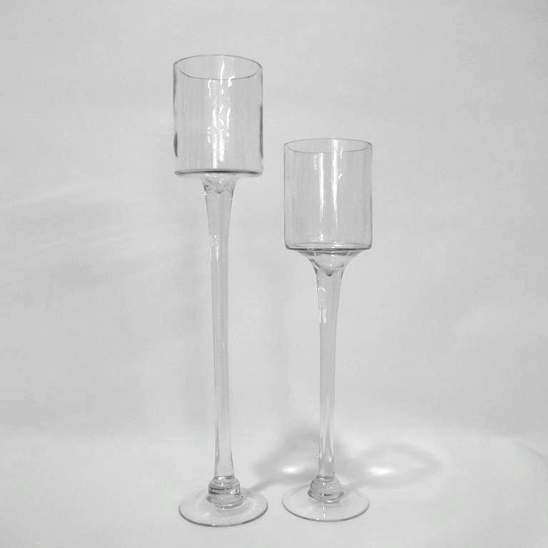 candle stick holder | ... Centrepieces > Glassware > Elevated Glass Candle Holder - Tall & Short