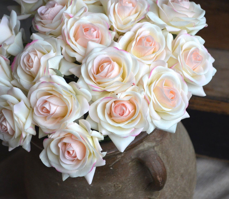 Light Blush Roses Real Touch Flowers Silk Roses Diy Wedding Flowers