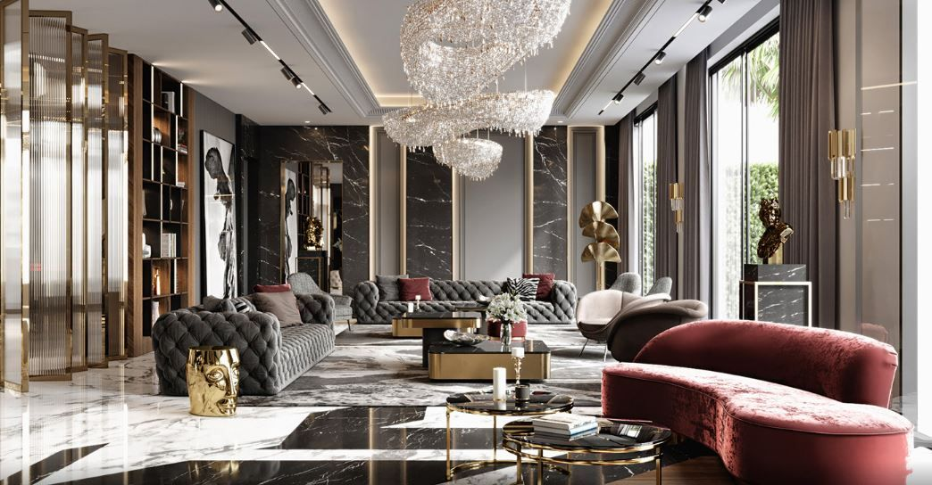 The Exaltation Of Luxury In A Modern Kitchen In 2021 Luxury Living Room Design Mansion Living Room Mansion Living Interior decor of living room