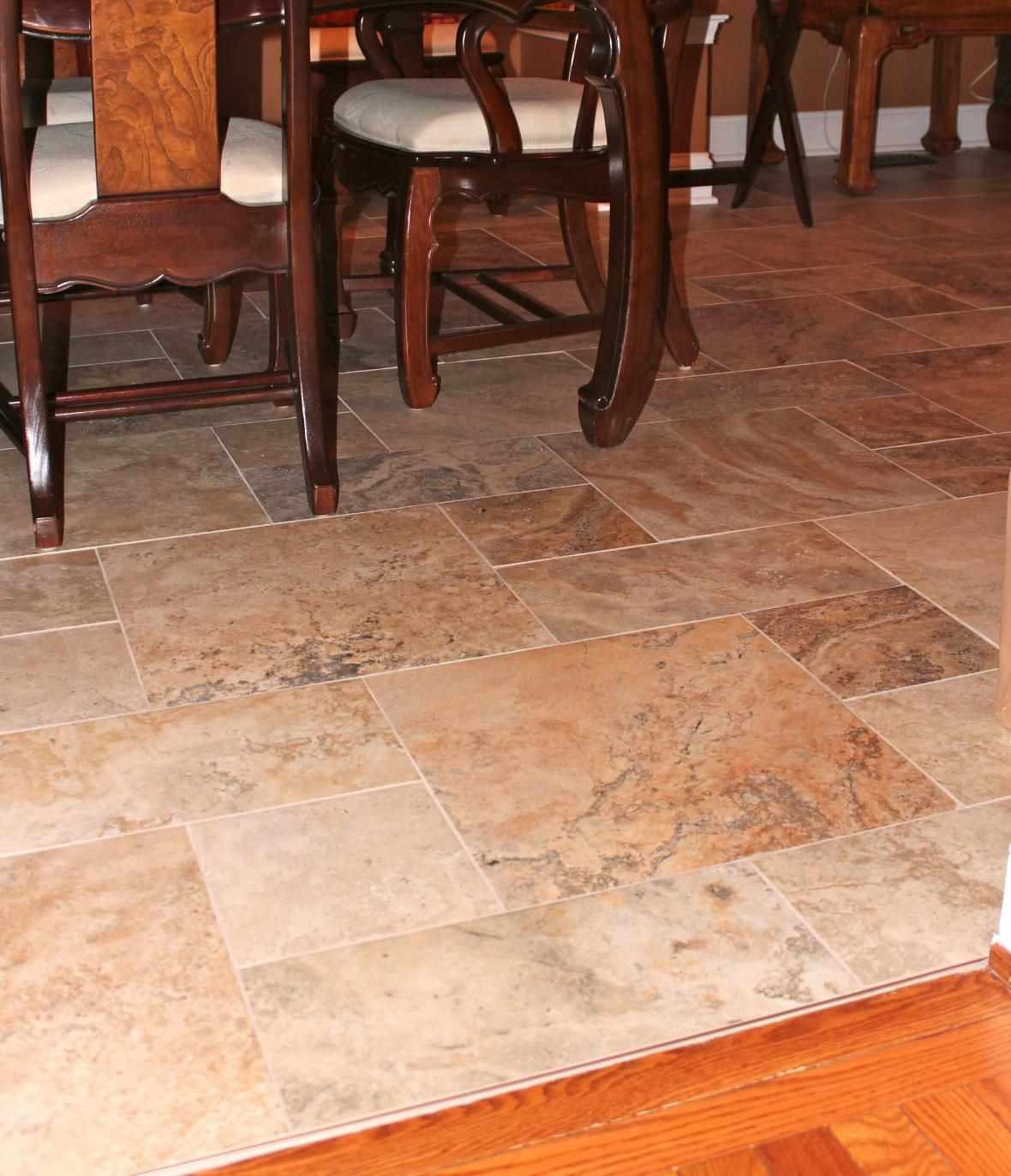 dining room tile flooring. dining room - nice tile floor pattern, the different shapes take squareness away from flooring .