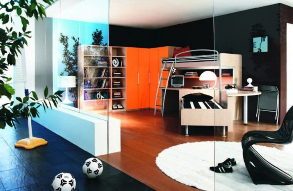 Kids Room Luxury Boys Teenage Bedroom Ideas With Wooden Bunk Bed Also Huge Orange Closets Modula Cool Dorm Rooms Contemporary Bedroom Decor Small Room Bedroom