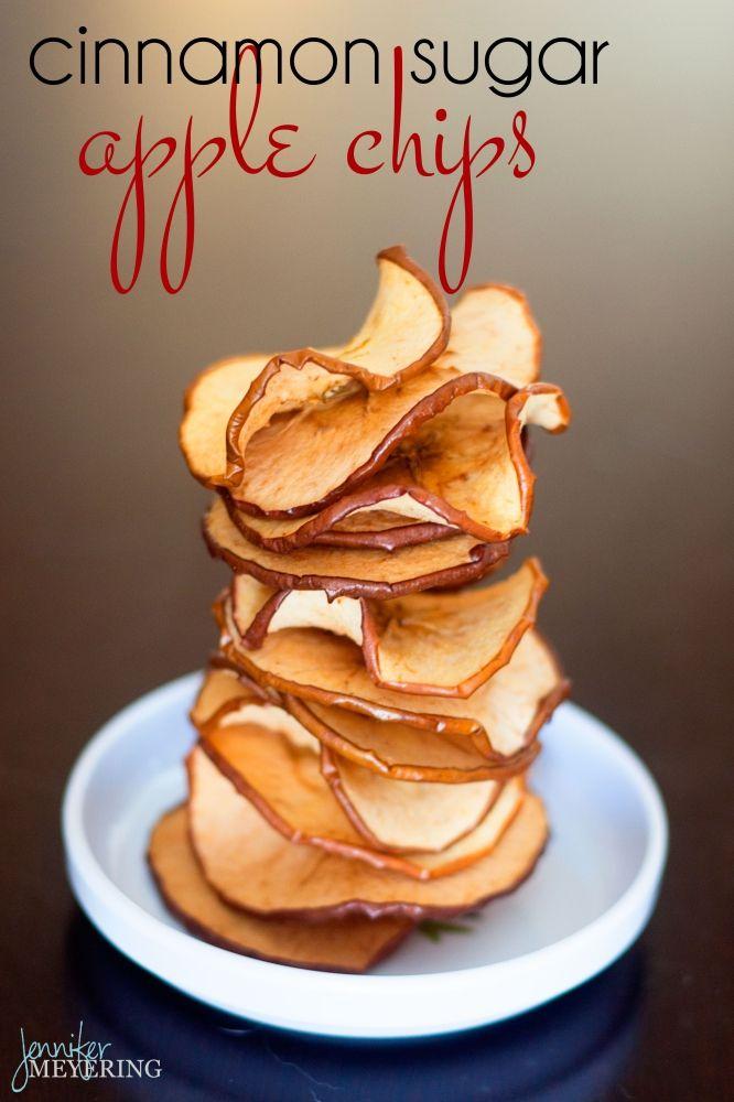 Cinnamon Sugar Baked Apple Chips   JenniferMeyering.com