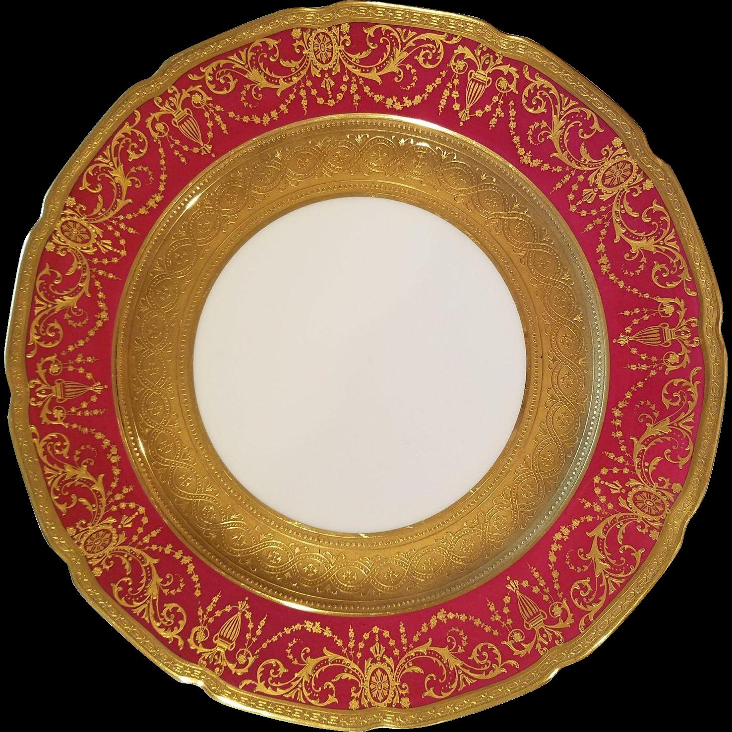 Limoges Guerin Porcelain Dinner Plates Ruby Red u0026 Gold Gilt | Porcelain China patterns and Decorating  sc 1 st  Pinterest & Limoges Guerin Porcelain Dinner Plates Ruby Red u0026 Gold Gilt ...