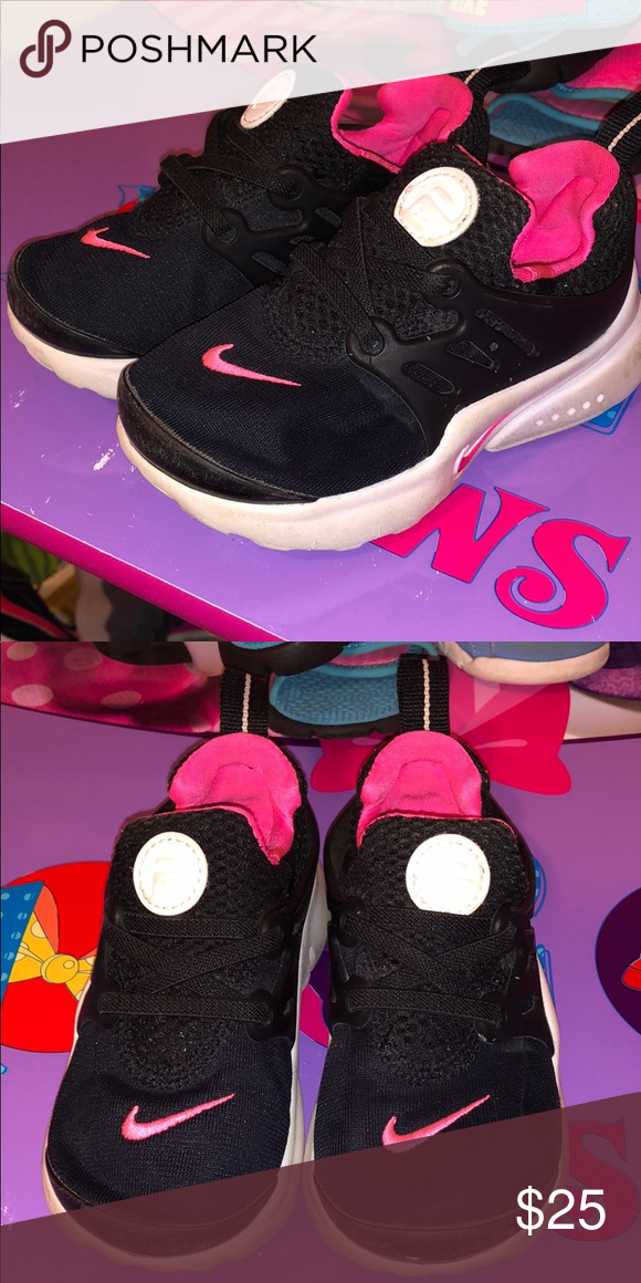 720302e312 Kids Nike Presto Toddler black and pink Nike Presto Nike Shoes Sneakers