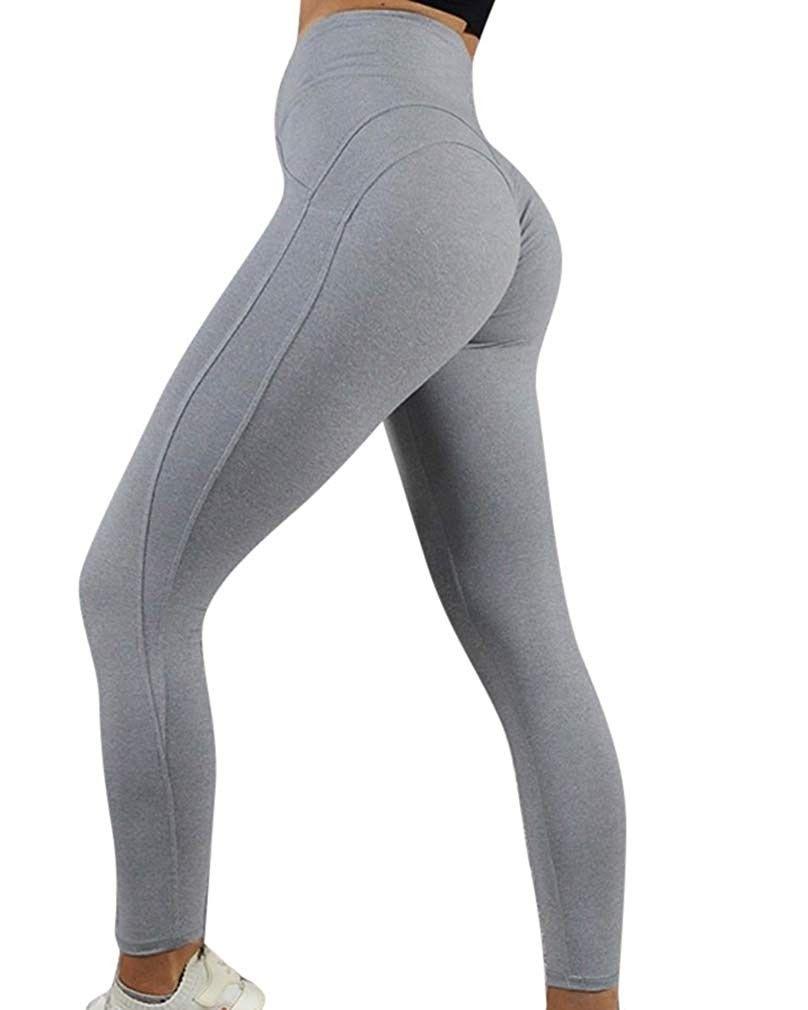 Women's Yoga Pants Ruched Butt Lift Workout Leggings High Waist Sportwear - Gray204 - CW18IR946Q2 -...