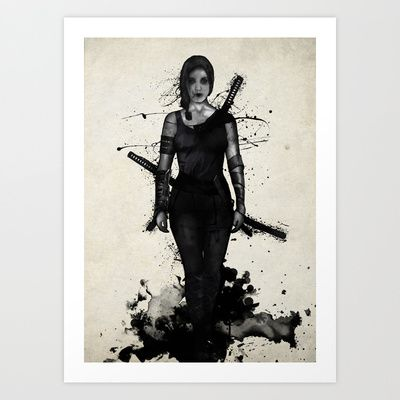 Onna Bugeisha by Nicklas Gustafsson #ninja #samurai #female #girl #warrior #sword #spatter #illustration #artprint #wallart