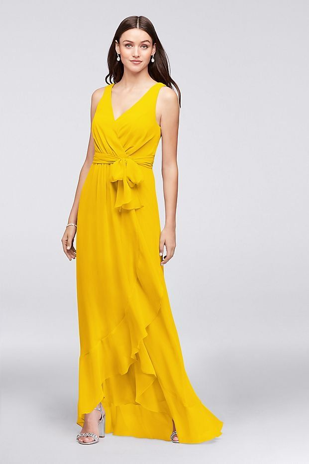 e3383a6a7f6e Ruffle-Trim Chiffon Faux-Wrap Yellow Bridesmaid Dress
