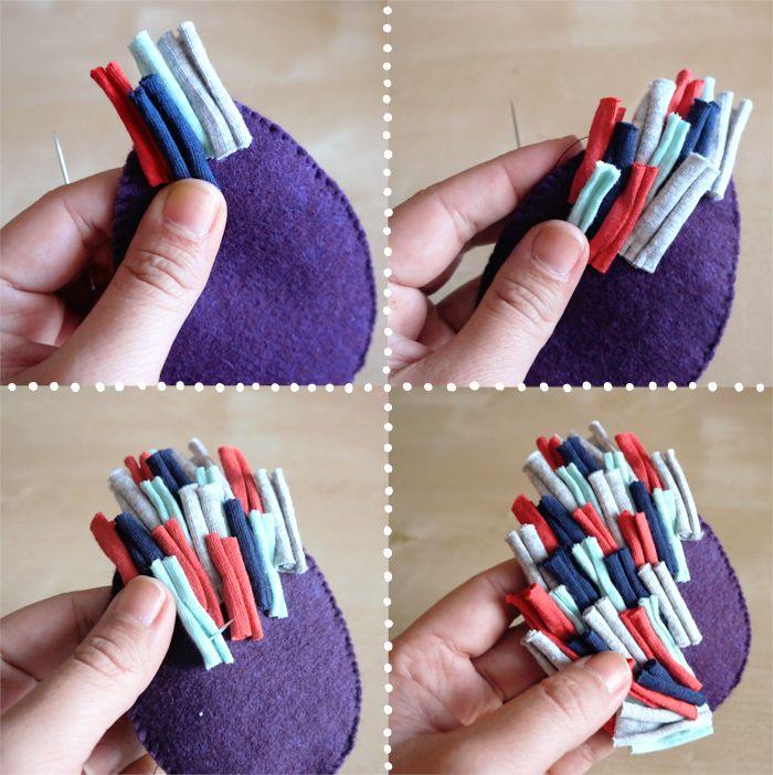Pour réaliser ce serre tête il vous faut:   - des morceaux de trapilho d'environs 2.5 cm   - de la feutrine (peu importe la couleur...