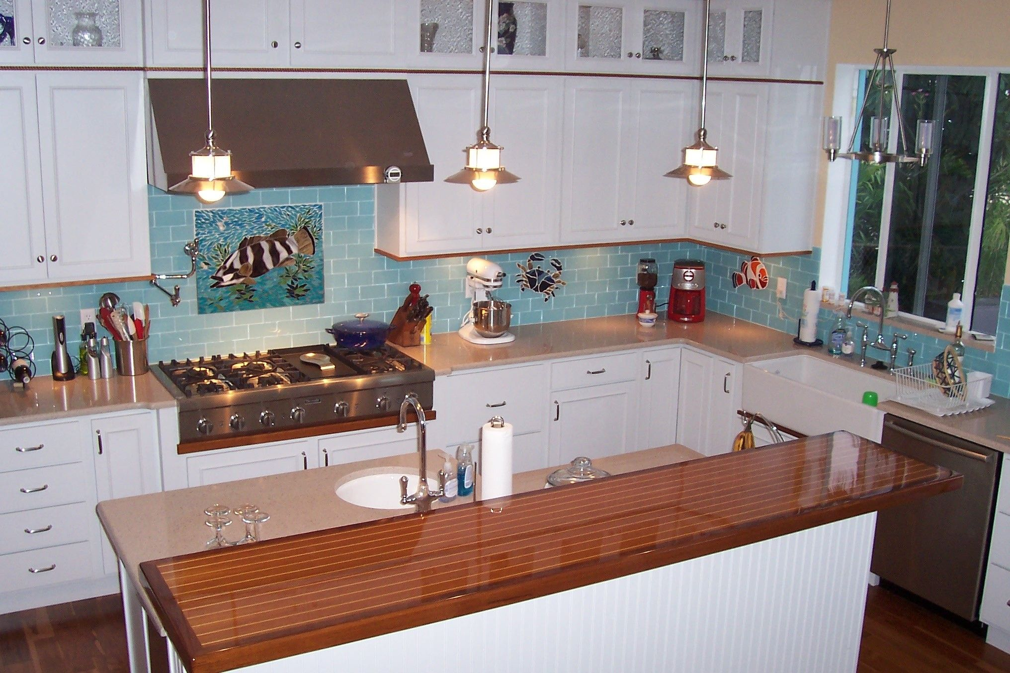 Lush Breaker 3x6 Medium Blue Glass Subway Tile Kitchen Wall Installation
