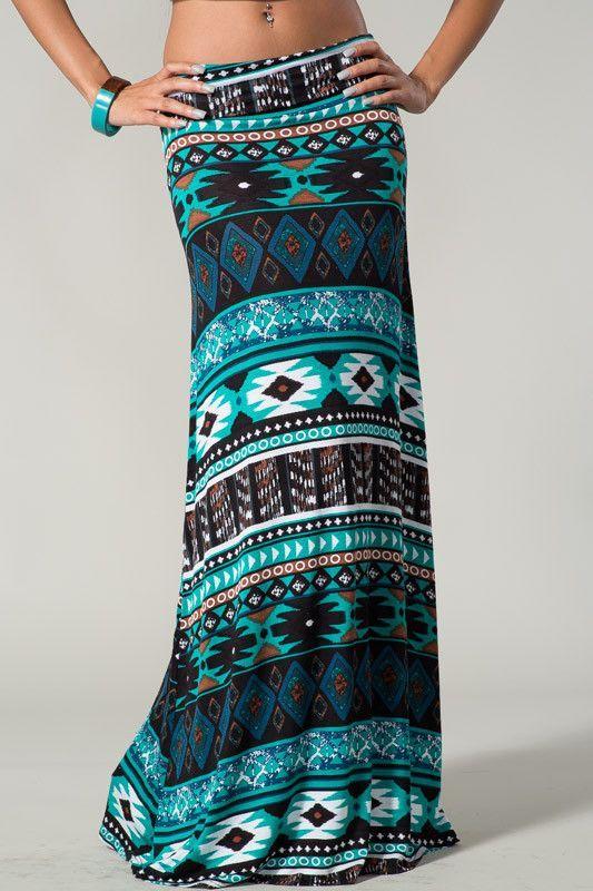 PAINT THE SKY Bohemian Tribal Turquoise Floor Length Maxi Skirt CHELSEA VERDE M