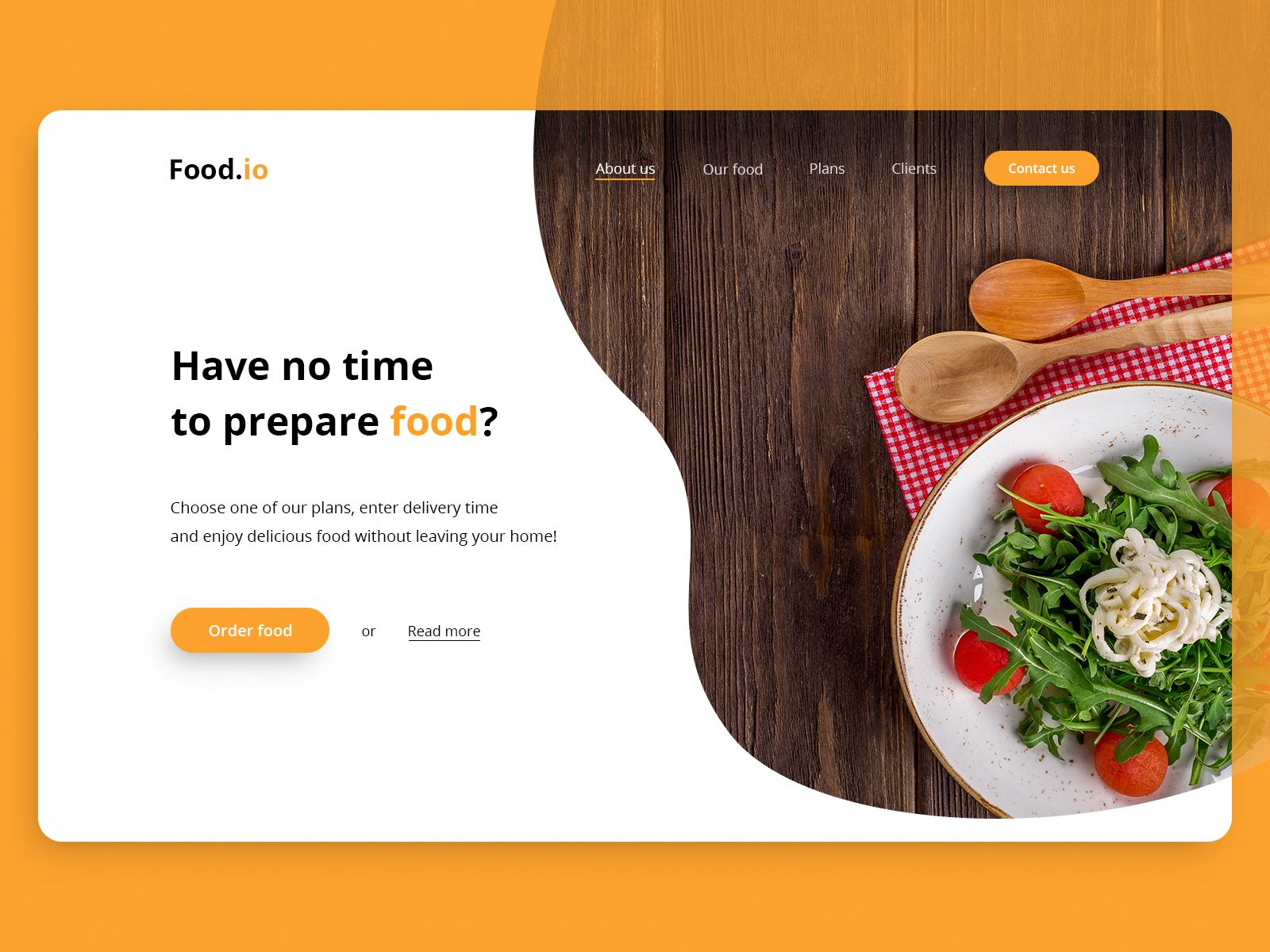 Food Io Landing Page For Food Service By Daniel Wodziczka Webdesignservices Food Web Design Food Website Design Food Website