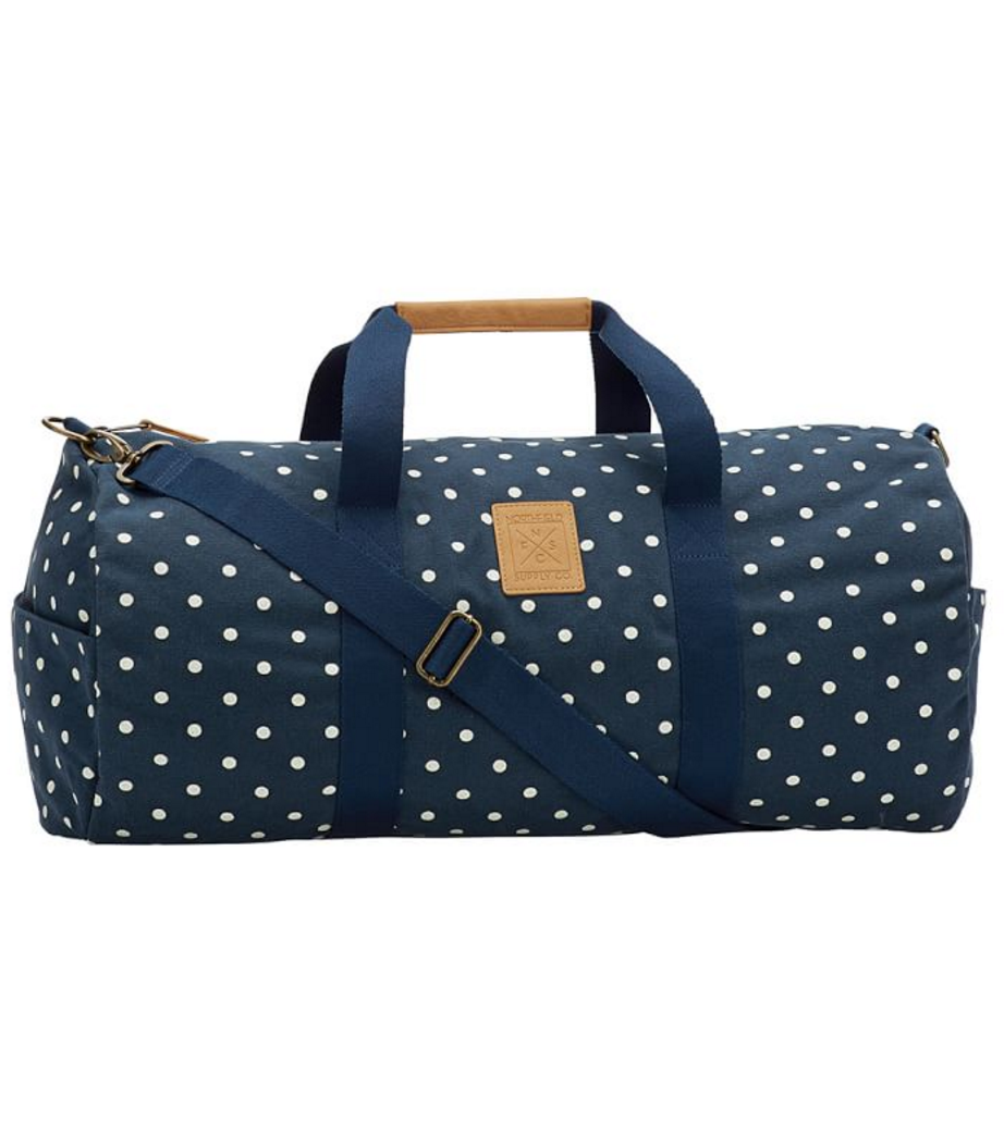 Cute Navy Blue Dotted Duffel Bag With Images Bags