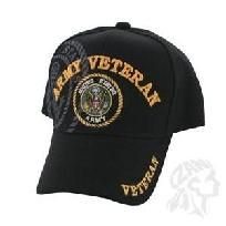 Cap, Black, Embroidered, Army Veteran  New