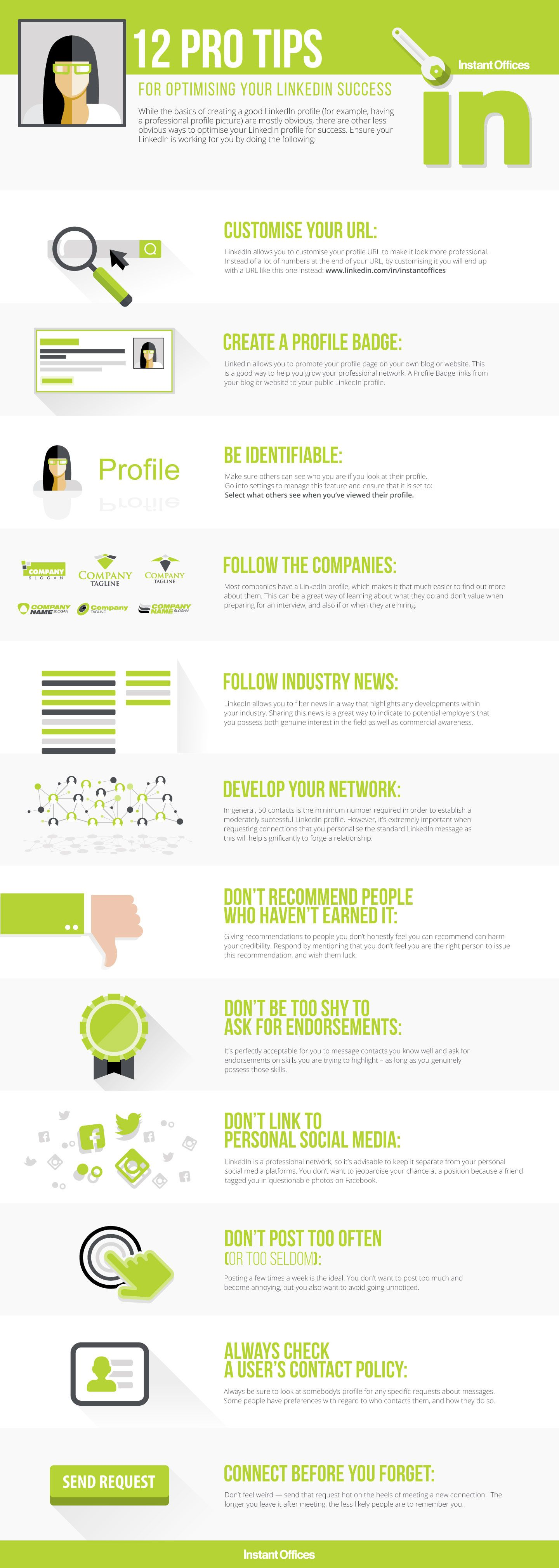 12 Pro Tips for Optimising Your Linkedin Success #Infographic