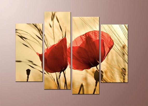Framed canvas print wall art, one piece or 4 pieces, poppy art ...