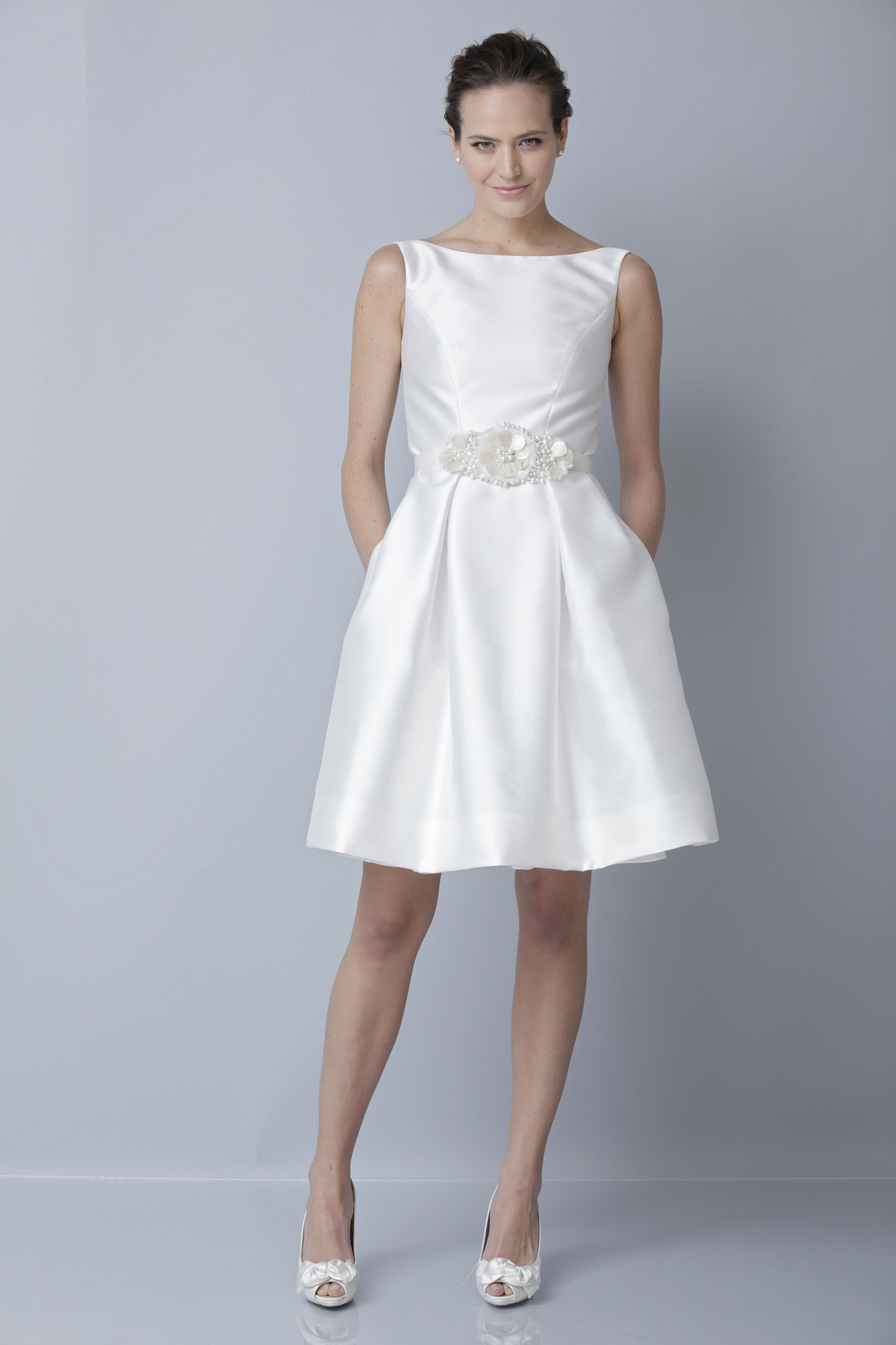 Theia White Collection 890010 | Boat neck Cocktail gown with beaded ...