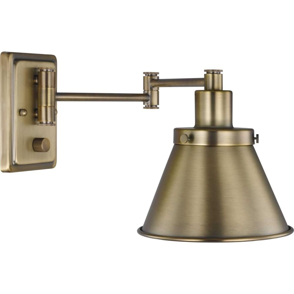 Hinton Collection Vintage Brass Swing Arm Wall Light Aq9ru Denney Electric Supply In 2021 Swing Arm Wall Light Progress Lighting Bracket Lights