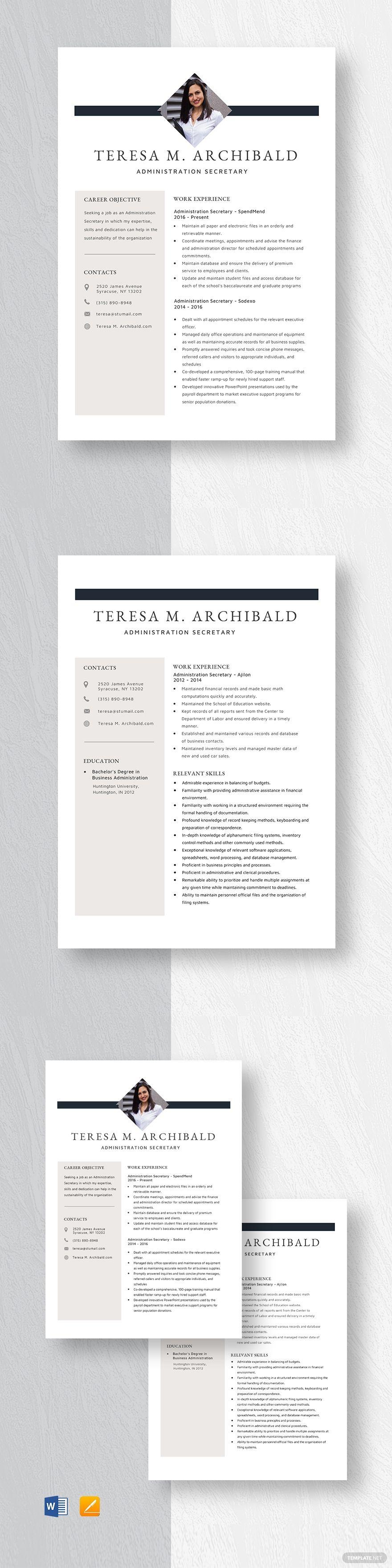 Administration secretary resume resume design template