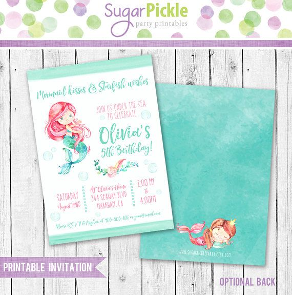 Mermaid party Invitations, Mermaid Invitations, Mermaid Birthday