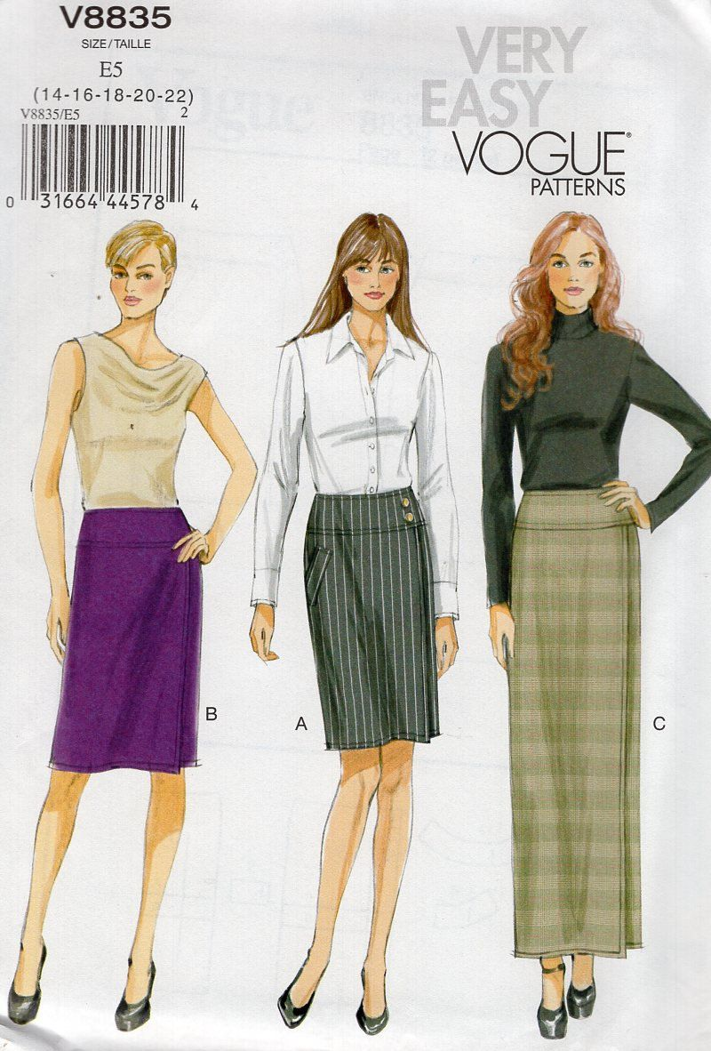 Vogue 8813 Yoked Waist Wrap Slim Skirt SZ 14/22 New Sewing Pattern Out of Print plus size Waist 28-37 by LanetzLiving on Etsy
