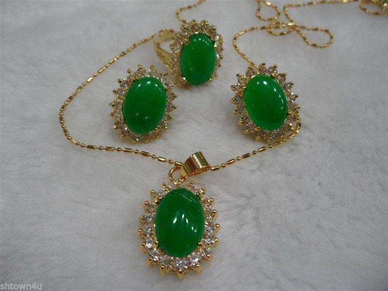 Aaa Fashion Jewelry Beautiful Green Jade Necklace Pendant Earring ...