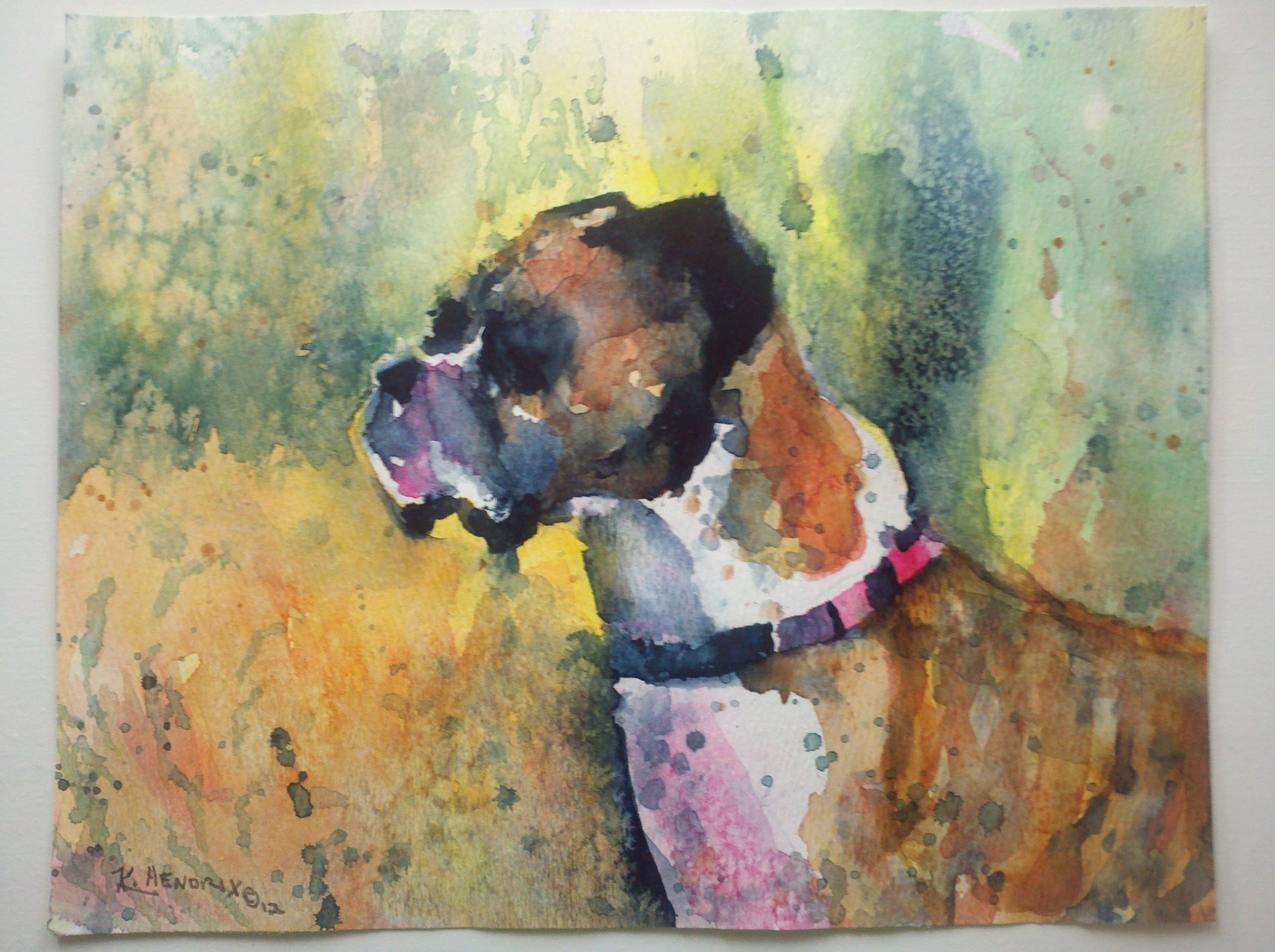 Custom watercolor portrait of boxer dog