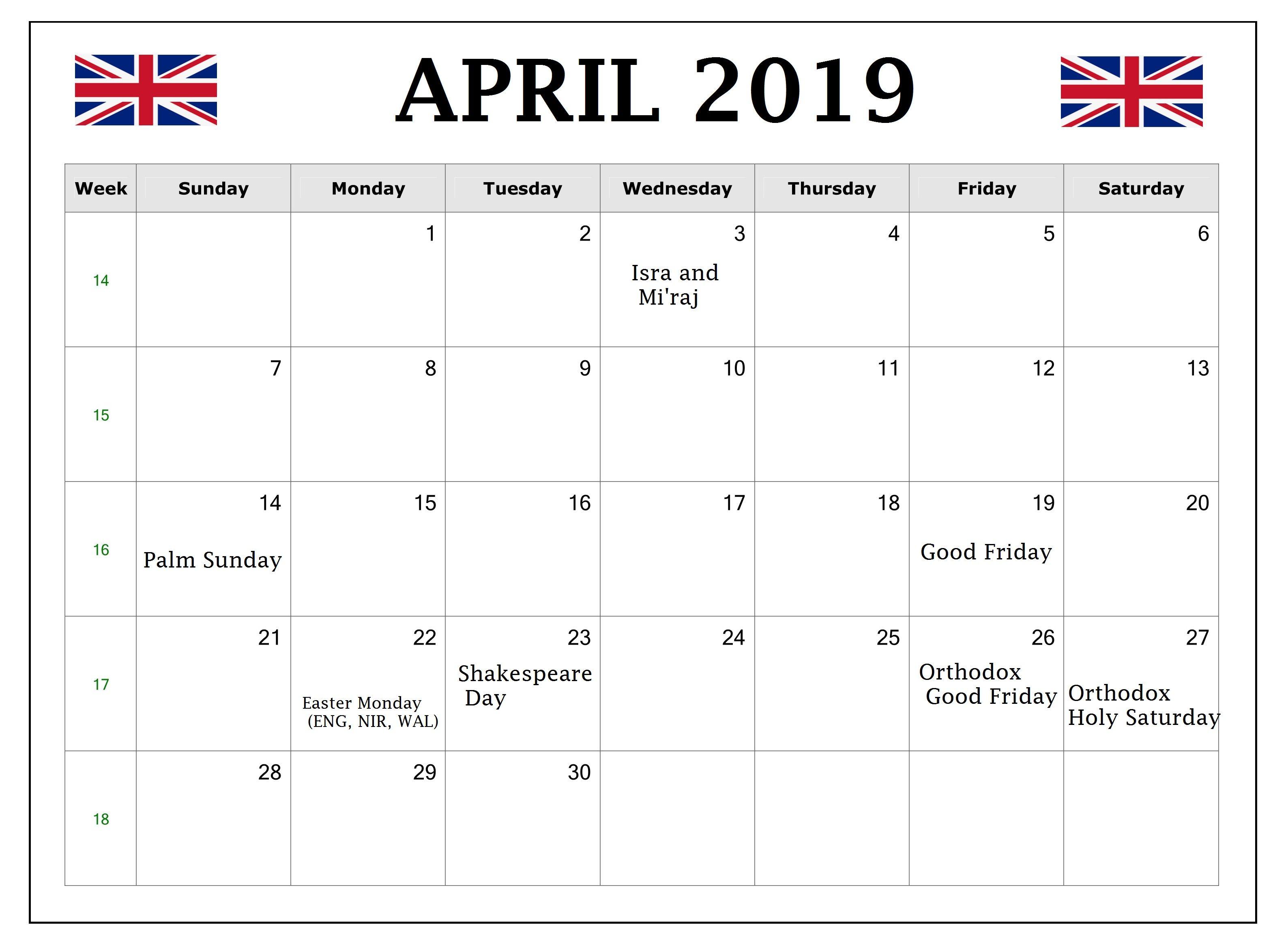 Printable April 2019 Calendar With Holidays Usa Uk Canada India