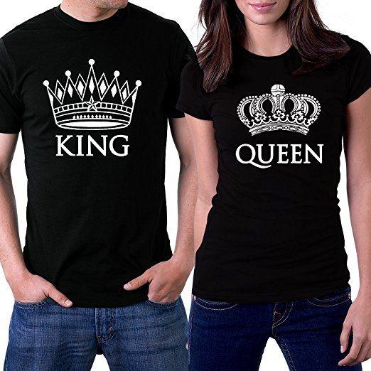 7a9bdff5a676 PicOnTshirt King and Queen Couple T-shirts Men L   Women XL Black Crowns