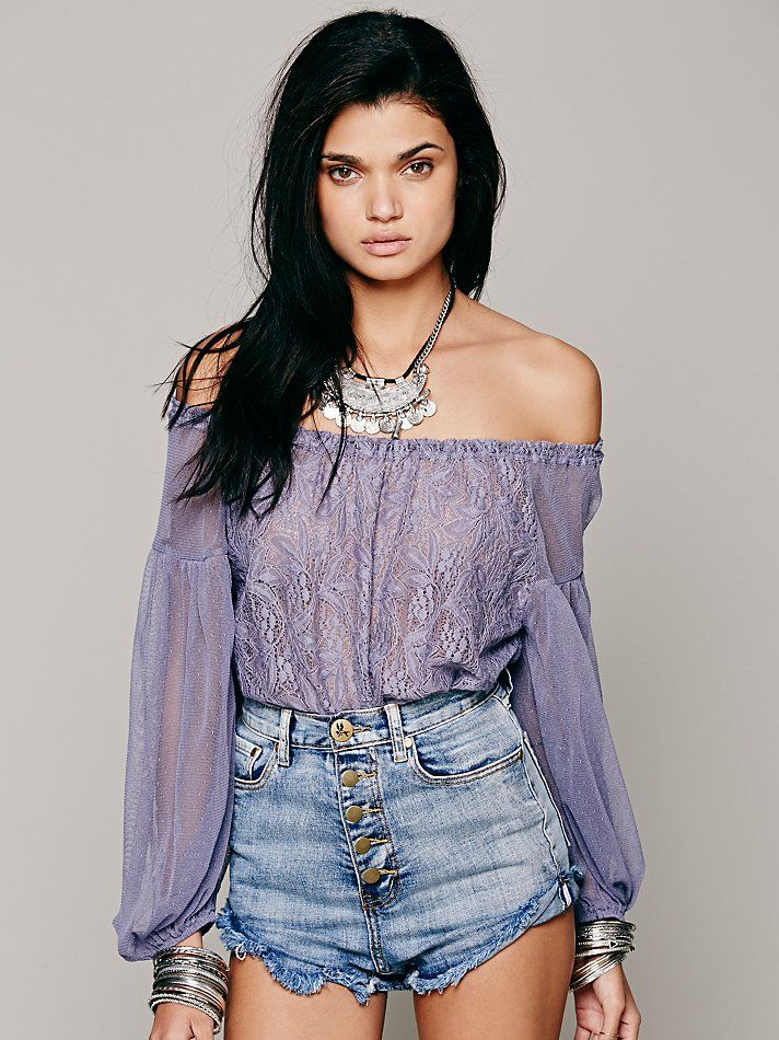 Free People Lace Banded Bottom Blouse 128 00 Gypsy Beach