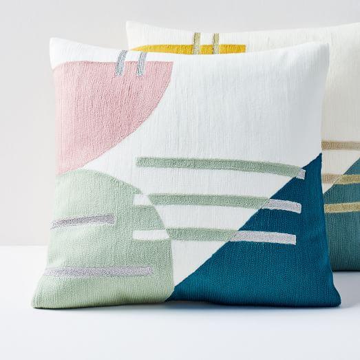 Crewel Colorblock Splice Pillow Covers