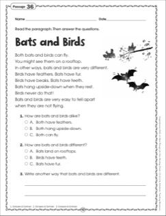 Bats And Birds Grade 1 Close Reading Passage With Images